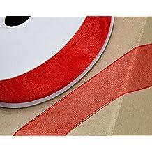 CLUB GREEN Woven Edge Organza Ribbon, Red, 6 mm x 25