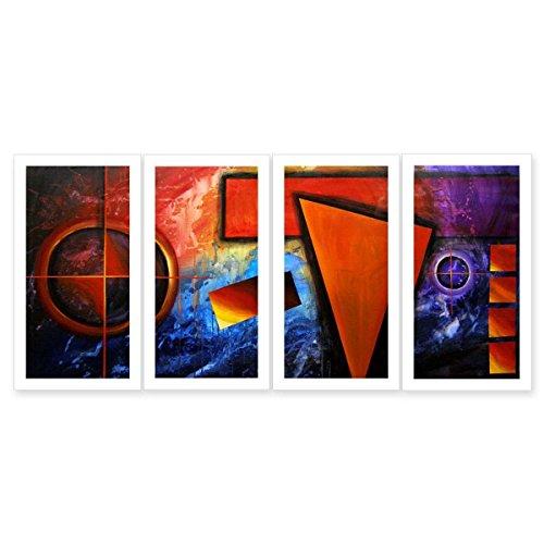 JH Lacrocon Pinturas Abstractas a Mano 4 Piezas - Total 120X60 cm Sobre Lienzo Enrollado Decoración Pared para Salón - Simbolismo Colorido Patrón Geométrico