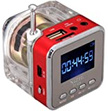 Digital Portable red color Mini Speaker Music MP3/4 Player Micro SD/TF USB Disk Speaker FM Radio LCD Display by manufacture seller