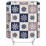 """Tenda da doccia, (impermeabile, antibatterico) - Motivo invernale vintage personalizzato su motivo a fiocchi di neve natalizio, tende da bagno decorative da bagno in tessuto di poliestere 66 """"x 72"""""""
