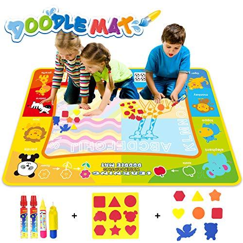 Jenilily Magic Doodle Malmatte, 120x90CM Wasser Malmatte Kids Baby Toddler Wasser Zeichnen Matte Toy Wattre Magie Stift Spielzeug Junge Mädchen Alter 2 3 4 5 6 Jahre alt (Wasserziehmatte)