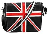 Leder Cross Body Unisex Tasche Union Jack Schwarz Laptop, Schulranzen, Messenger Bag 2760