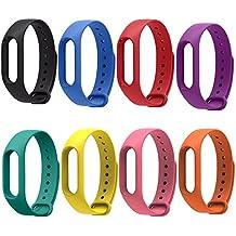 Rubility® 8 Packs - Multicouleurs Remplacement de Bracelet Adapte au Xiaomi Wristband 2 / Strap en Silicone pour Xiaomi MiBand 2 (Noir+Bleu+Rouge+Violet+Jaune+Rose+Orange+Vert)