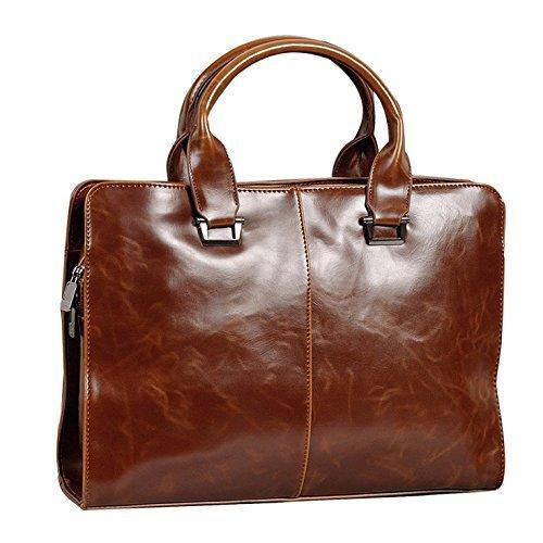 BAIGIO Men's PU Leather Briefcase Satchel Tote Bag Messenger Shoulder Bag School Work Business (Brown)