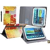Emartbuy Wolder miTab Pro + 10.1 Pulgadas HD Tablet PC Universal ( 10 - 11 Pulgadas ) Azulejos Coloreados Ángulo Múltiples Ejecutivo Folio Funda Carcasa Con Ranuras Para Tarjetas+ Lápiz Óptico
