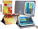 Emartbuy® Denver TIQ-11003 10.6 Zoll Tablet Universalbereich (10-11 Zoll) Farbige Fliesen Multi Angle Exekutiv Folio Mappen Kasten Abdeckung mit Kartensteckplätze + Eingabestift
