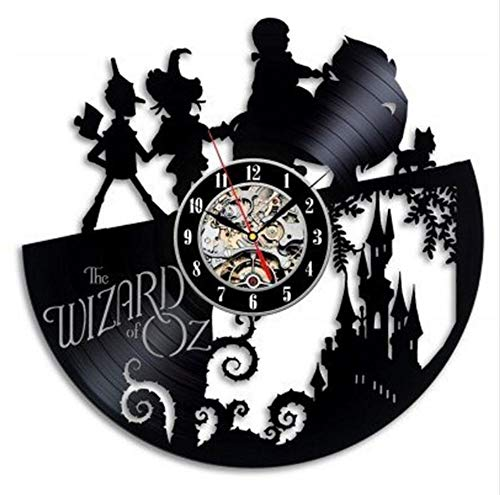 MSAMH Vinyl CD Rekord Wanduhr Modernes Design Der Zauberer von Oz Große Uhren Schwarz Stumm Retro Stil Cartoon Wanduhr Kunst (Der Zauberer Von Oz Hat)