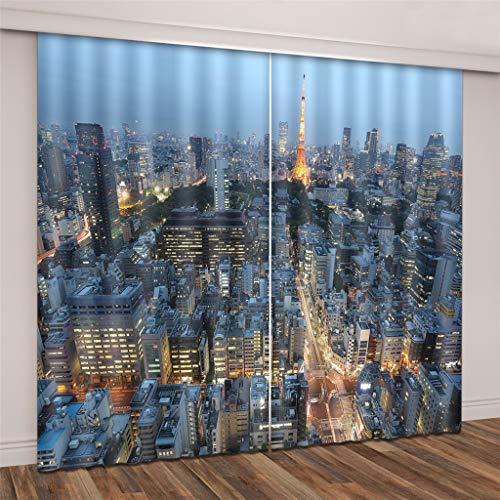 Lgxingliyidian tessuto di seta nero tende oscuranti moderni grattacieli urbani di parigi stampa 3d tende occhiello isolamento termico 250 (h) x140cm (w) x2