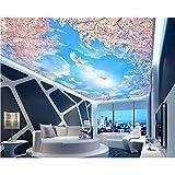 BIZHIGE Personnalité De La Mode Moderne Classique 3D Papier Peint Ciel Bleu Nuages Blancs Cerisiers Peintures Murales Zénith 3D-330 × 210Cm