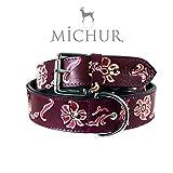 MICHUR Shanaya, Hundehalsband, Lederhalsband, Halsband, Lila, LEDER, mit gestanzten Blumenmuster, in verschiedenen Größen erhältlich