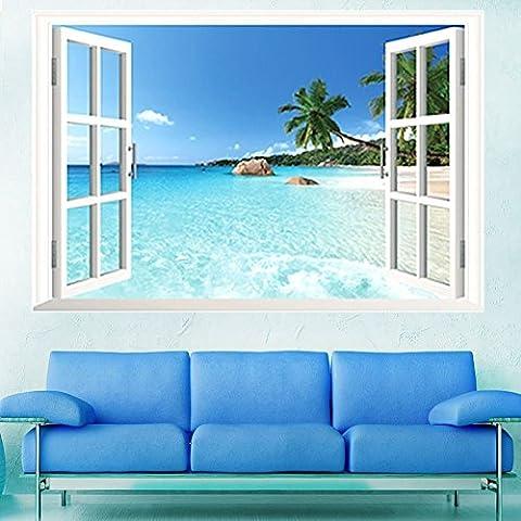 Skyllc® Grande Plage amovible Fenêtre 3D Sea View Scenery Wallpaper Wall Sticker