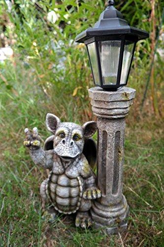 Drachenkind Peace mit Solar Laterne Drache Figur Gargoyle Gartenfigur