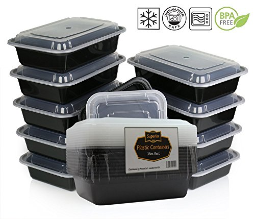 Picture of {10 Pack} Microwave And Dishwasher Safe Stackable Meal Prep Plastic Food Containers with Lid/Divided Plate/Bento Box/Lunch Tray (1 Compartment 22x15x5xcm, Clear