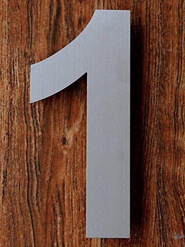 QT Número de casa moderna - 15 Centímetros - Acero inoxidable (Número 1 Uno), Apariencia flotante, Fácil de instalar y hecho de acero inoxidable 304 sólido