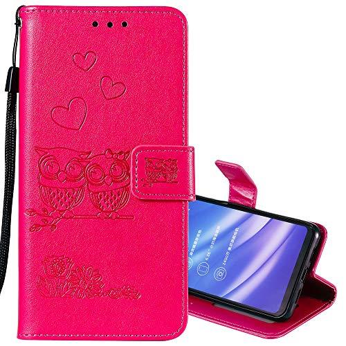 lle für Huawei P Smart Z,Schutzhülle Pu Leder Lustig Geprägt Blumen Eule Magnetverschluss Wallet Brieftasche Lederhülle mit Standfunktion für Huawei P Smart Z ()