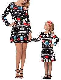 KOERIM Vestido de mamá y niña de Manga Larga Una línea Vestido de Navidad Festival navideño