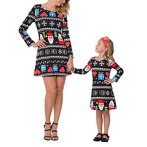 KOERIM Vestido de mamá y niña de Manga Larga Una línea Vestido de Navidad Festival navideño Imprime Trajes a Juego con la Familia