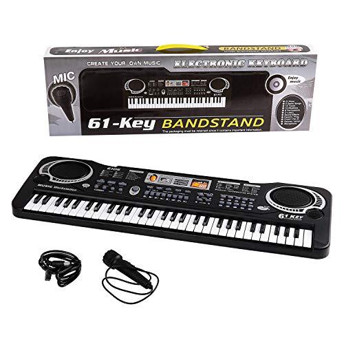 Kids Piano Multi-function 61 Key Keyboard Piano Electronic Organ Music Child Musical Electronic Karaoke Keyboard with Microphone For Kids Children Black