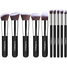Set de Brochas Luxebell 10pcs Pinceles Profesionales Profesional Pro HQ Brushs Makeup Cosmético Combinando Corrector Sombra de Ojos Ceja en Polvo (Negro, Plata)