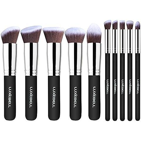 Set de Brochas Luxebell 10pcs Pinceles Profesionales Profesional Pro HQ Brushs Makeup Cosmético Combinando Corrector Sombra de Ojos Ceja en Polvo (Negro,