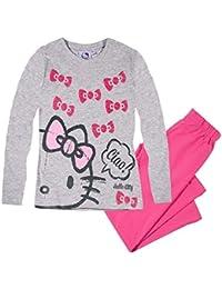 Hello Kitty Pyjama 2017 Kollektion 92 98 104 110 116 122 128 Schlafanzug Mädchen Lang Fuchsia-Grau