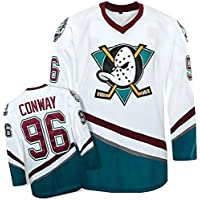 XIAOYU Charlie Conway # 96 Mighty Ducks Película de Hockey sobre Hielo de la NHL Jerseys Hombres Sudaderas Respirable de la Manga Larga Camiseta,S