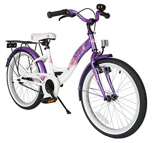fahrraeder maedchen BIKESTAR Premium Sicherheits Kinderfahrrad 20 Zoll für Mädchen ab 6-7 Jahre ? 20er Kinderrad Classic ? Fahrrad für Kinder Lila & Weiß