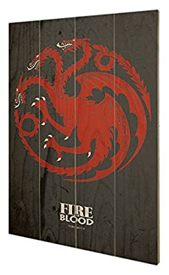 Pyramid International sw11385p Game of Thrones (Targaryen) murale en bois en bois Multicolore 40 x 2,5 x 59 cm