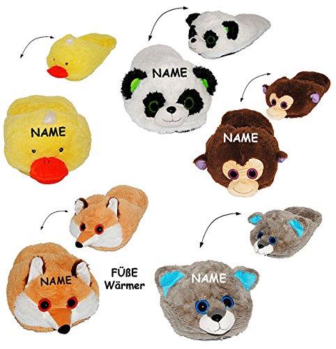 """Preisvergleich Produktbild 3 Stück _ XXL Pantoffel / Fußwärmer - für BEIDE Füße ZUSAMMEN - für ALLE GRÖSSEN & SUPERWARM - incl. Name - """" Panda Bär / Ente / Fuchs / Affe / Katze / Waschbär / Hund """" - ohne Strom - für superwarme Füße - Tierhausschuhe / Tier - Plüschtier - Fußsack - für Schuhe Schuh / Kissen / Hausschuh mit Profilsohle - für Erwachsene & Kinder - Mädchen / Plüsch - Superweich - Hauslatschen - wie Heizkissen / Wärmer - kalte Winter / Tierhausschuhe / Tier"""