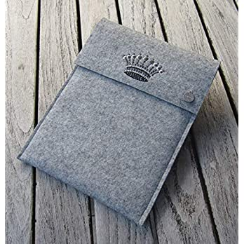 zigbaxx Tablet Hülle CROWN 1 Case Sleeve Filz u.a. für iPad 9.7, iPad Pro 9,7/10,5/11 Zoll (2018), iPad mini 2/3/4, iPad Air, 100% Wollfilz pink schwarz beige grau braun – Geschenk Weihnachten