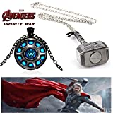 #1: 2 Pc AVENGER SET - THOR HAMMER - SILVER COLOUR & IRONMAN ARC REACTOR BLACK METAL 3D GLASS DOME IMPORTED METAL PENDANTS ❤ LATEST ARRIVALS - RINGS, KEYCHAINS, BRACELET & T SHIRT - CAPTAIN AMERICA - AVENGERS - MARVEL - SHIELD - IRONMAN - HULK - THOR - X MEN - DC - BATMAN - SUPERMAN - SPIDERMAN - DEADPOOL - FLASH - SUPER HERO ❤