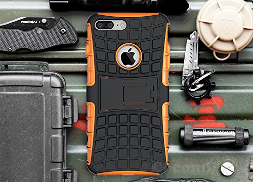 iPhone 7 Plus Carcasa, Cocomii [HEAVY DUTY] Grenade Case :::NUEVO::: [ULTRA TITAN ARMURE] Premium Résistant Aux Chocs Kickstand Bumper [DEFENSOR MILITAR] Corps Plein Robuste Hybride Double Couche De Protection Cover Bumper Case [COCOMII GARANTIE] ::: La Protection Ultime Contre Les Chutes Et Les Impacts Pour Votre Apple iPhone 7 Plus ::: ????? (Orange)