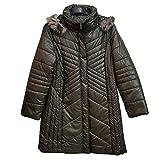 New Women Designer Line Padded Winter Ladies Long Fur Hooded Puffer Coat Jacket (UK Size 26, Khaki)
