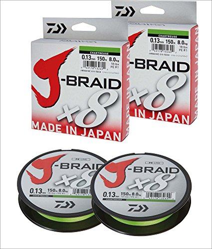 2 Stk. Daiwa J-Braid 8 Braid 0.28mm, 26,5kg/58lbs, 300m chartreuse (Doppelpack)