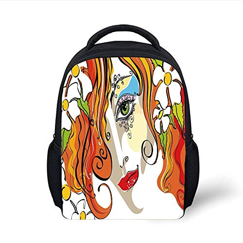 Abstract,Portrait of The Young Woman with Red Hair and Blooming Flowers and Make Up Art,Multicolor Plain Bookbag Travel Daypack ()