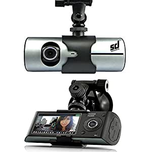 Smiledrive Dual Lens Car Vehicle Mounted Dash Cam/Camera/Camcorder Black Box DVR with GPS Logger G-sensor R300