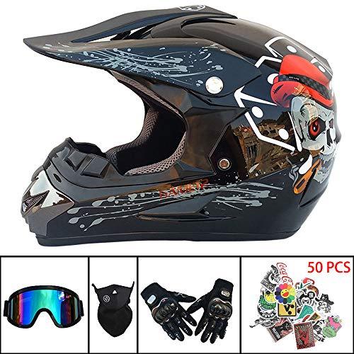 Motocross-Helm Mountainbike Off Road Motorrad Crash Helm Kindergesichtshelm für Erwachsene D.O.T zertifiziert für ATV/MX/BMX/Enduro/MTB(Handschuhe,Brillen,Maske,Aufkleber kostenlos),S