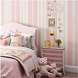 Yosot Mediterran Warm Und Vertikal Gestreifte Vliesstoff Tapete Junge Mädchen Schlafzimmer Tapete Rosa