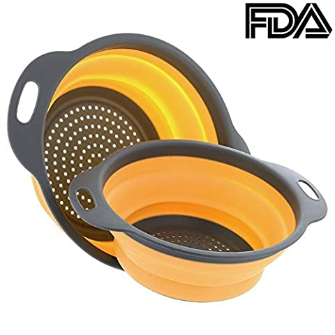 2PCS Colander Strainer Collapsible Silicone Filter Fruit Basket by CHAGNKU, FDA Approved for Home Kitchen Sets (Orange)