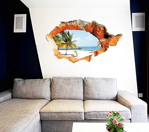 ZH -die wand im wohnzimmer wandgemälde 3d - kokosnuss - küste uferdamm schlafzimmer, wohnzimmer tapeten entfernen sticker 98.4x58cm hintergrund wasserdicht