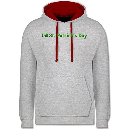 Festival - I love St. Patrick's Day - Kontrast Hoodie Grau Meliert/Rot