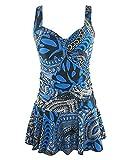 Damen Badekleid Plus Size Geblümt Figurformender Einteiler Badeanzug Swimsuit Als Bild S