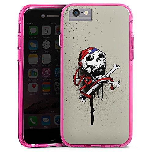 Apple iPhone 6 Bumper Hülle Bumper Case Glitzer Hülle Pirat Death Tod Bumper Case transparent pink