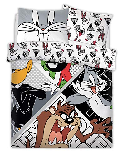 Sleepdown Warner Brothers Reversible Printed Looney Tunes Looney Crew Poly Cotton Duvet Quilt Cover Set, 3 Pcs - Double Best Price and Cheapest