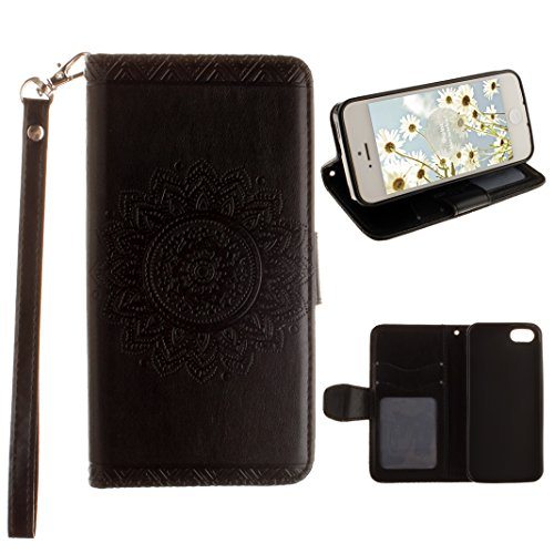 Custodia iPhone 5 SE Cover in Pelle Libro, Caso iPhone 5S Flip Case, Moon mood® Retro Custodia in Cuoio PU Portafoglio Shell con Carta Slots Shockproof Leather Wallet Stand Cover Flip Case with Magnet Black