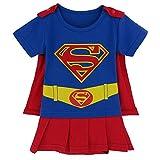 Blau Supergirl-inspiriertes Säuglings-Caped-Kleid