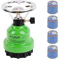 Campingkocher E190 Gaskocher Metall mit 4X Gas in Verschiedenen Farben