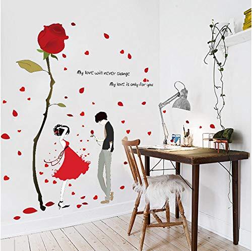 Red Dress Girl Rose Wandaufkleber (für Hochzeitsdekoration Schlafzimmer Wohnzimmer Wandtattoos selbstklebend) Vinyl Wandaufkleber