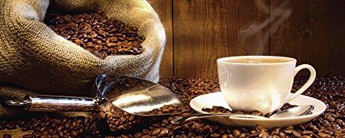 Artland Qualitätsbilder I Glasbilder Deko Glas Bilder 125 x 50 cm Ernährung Genuss Getränke Kaffee Foto Braun B2XR Tasse Leinensack Kaffeebohnen