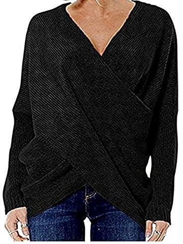 cooshional Damen Sweatshirt Pullover Sweater Langarmshirt mit V-Ausschnitt Cross Wrap Strickjacke Strickpullover Pulli Schwarz